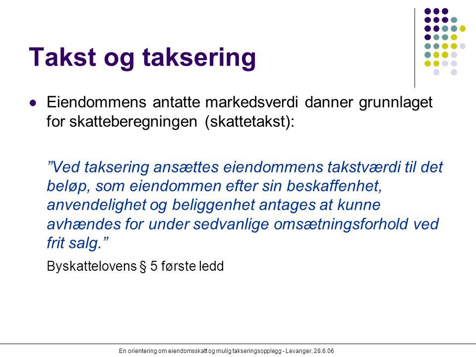 Takst og taksering Eiendommens antatte markedsverdi danner grunnlaget for skatteberegningen (skattetakst):