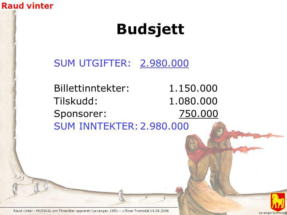 Budsjett SUM UTGIFTER: 2.980.000 Billettinntekter: 1.150.000