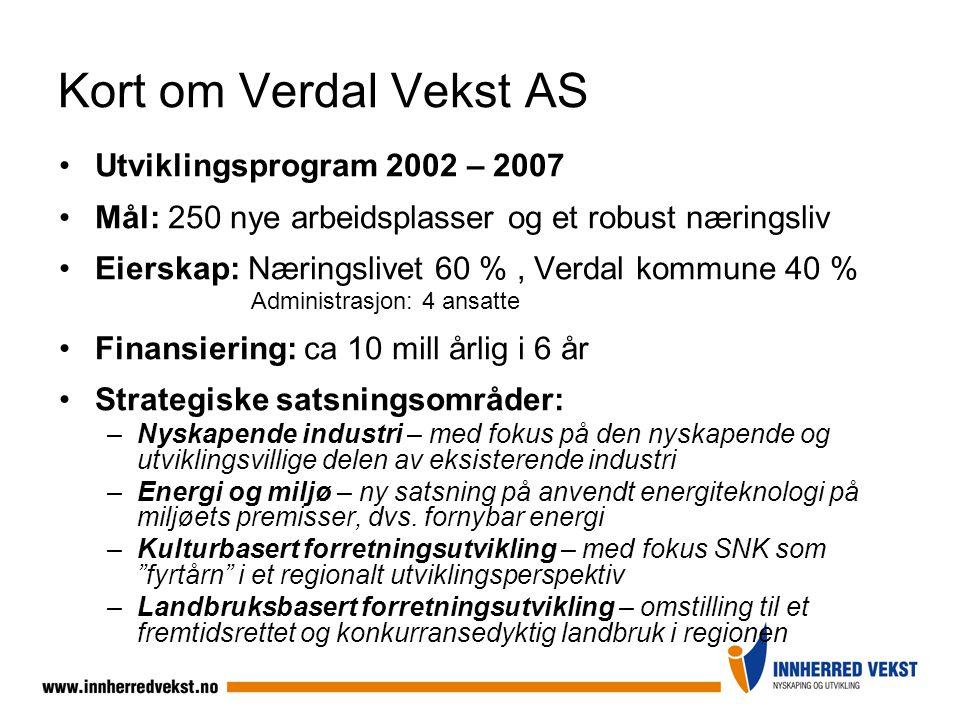 Kort om Verdal Vekst AS Utviklingsprogram 2002 – 2007