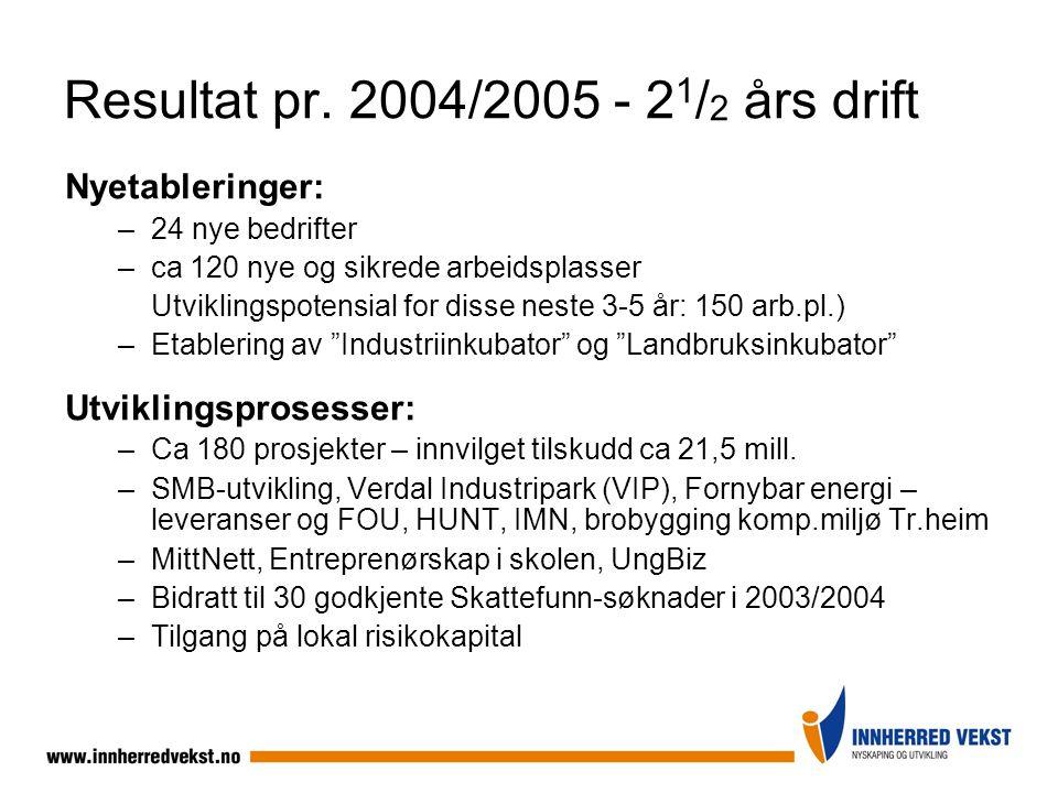 Resultat pr. 2004/2005 - 21/2 års drift