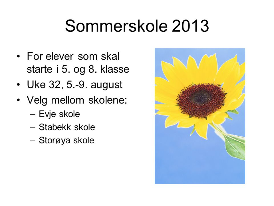 Sommerskole 2013 For elever som skal starte i 5. og 8. klasse