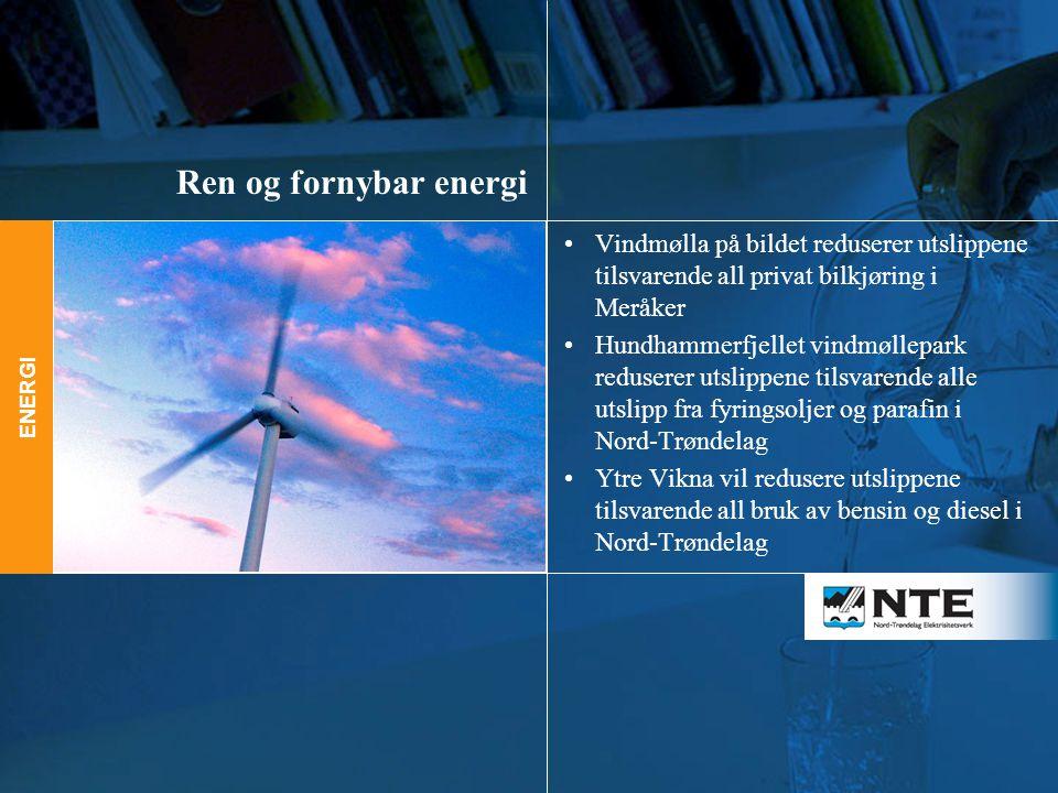 Ren og fornybar energi Vindmølla på bildet reduserer utslippene tilsvarende all privat bilkjøring i Meråker.