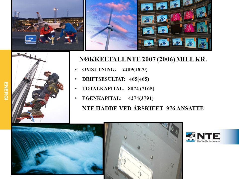 NØKKELTALL NTE 2007 (2006) MILL KR. NTE HADDE VED ÅRSKIFET 976 ANSATTE