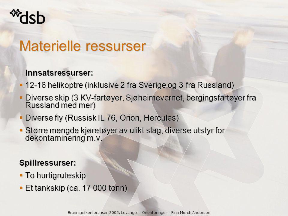 Materielle ressurser Innsatsressurser: