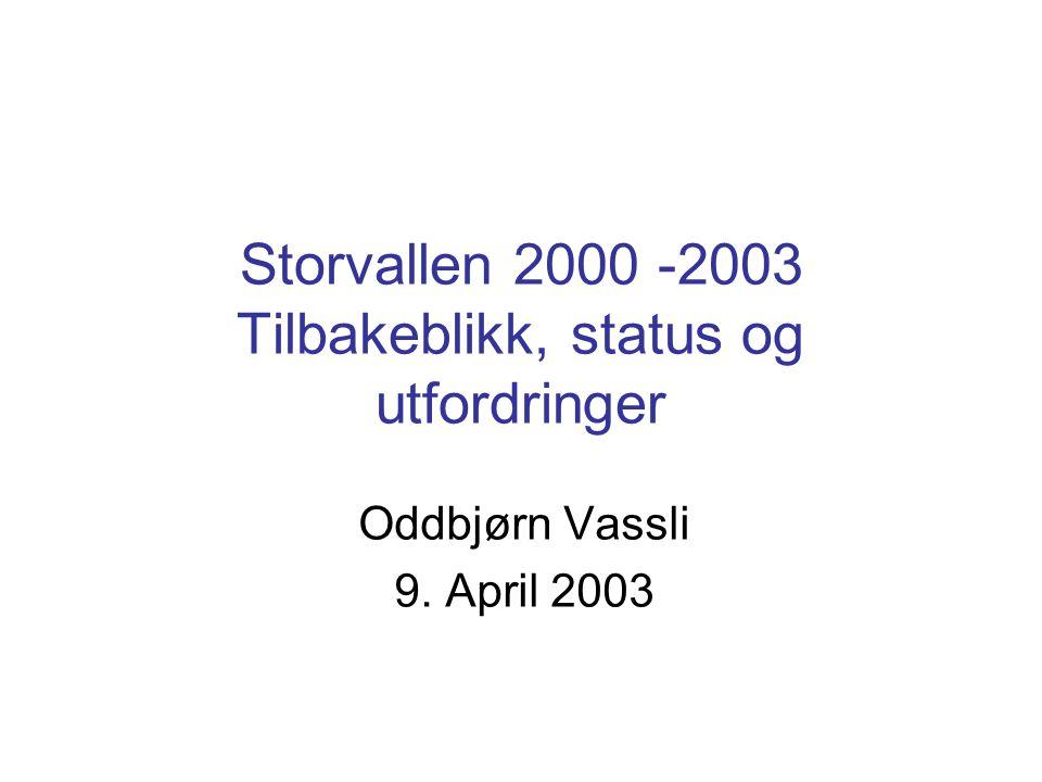 Storvallen 2000 -2003 Tilbakeblikk, status og utfordringer