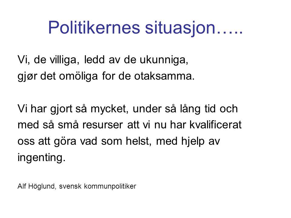 Politikernes situasjon…..
