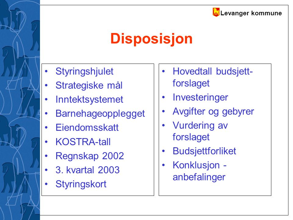 Disposisjon Styringshjulet Strategiske mål Inntektsystemet