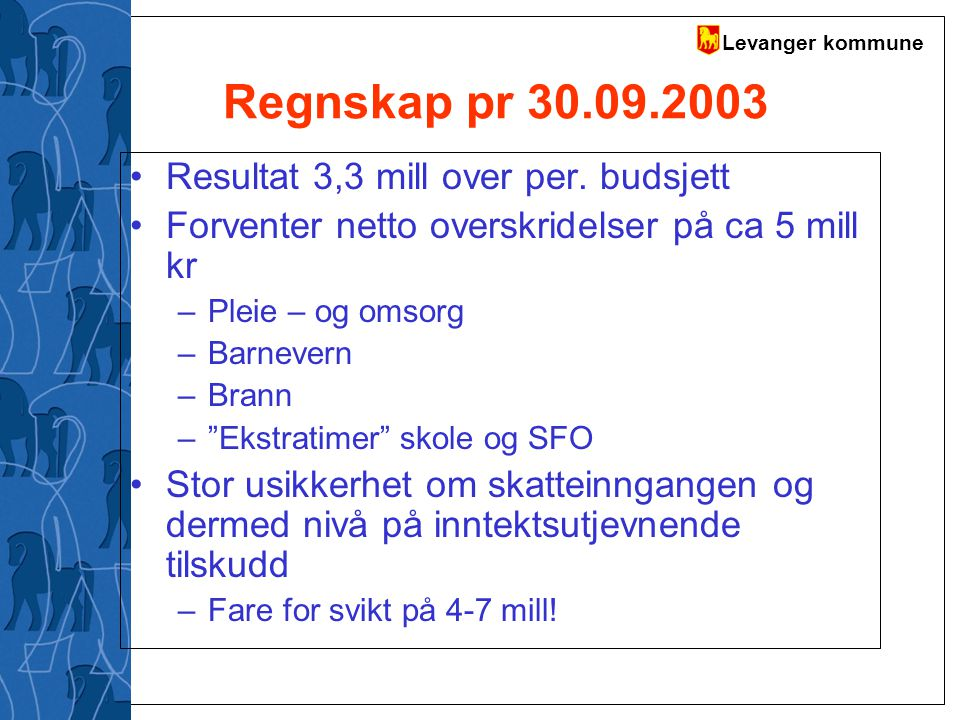 Regnskap pr 30.09.2003 Resultat 3,3 mill over per. budsjett
