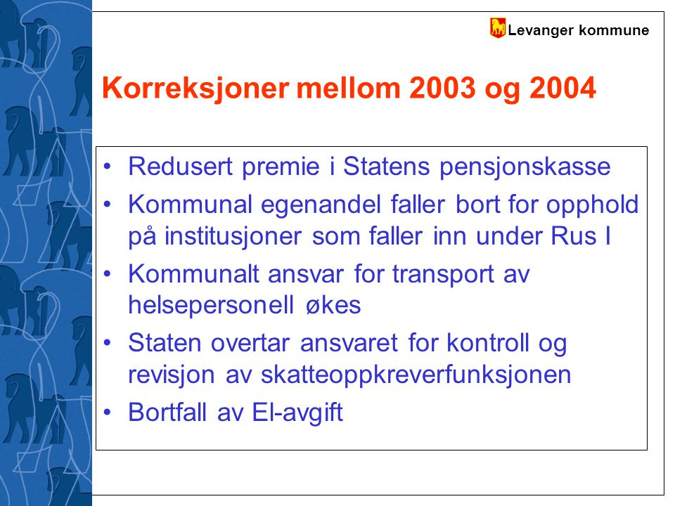 Korreksjoner mellom 2003 og 2004