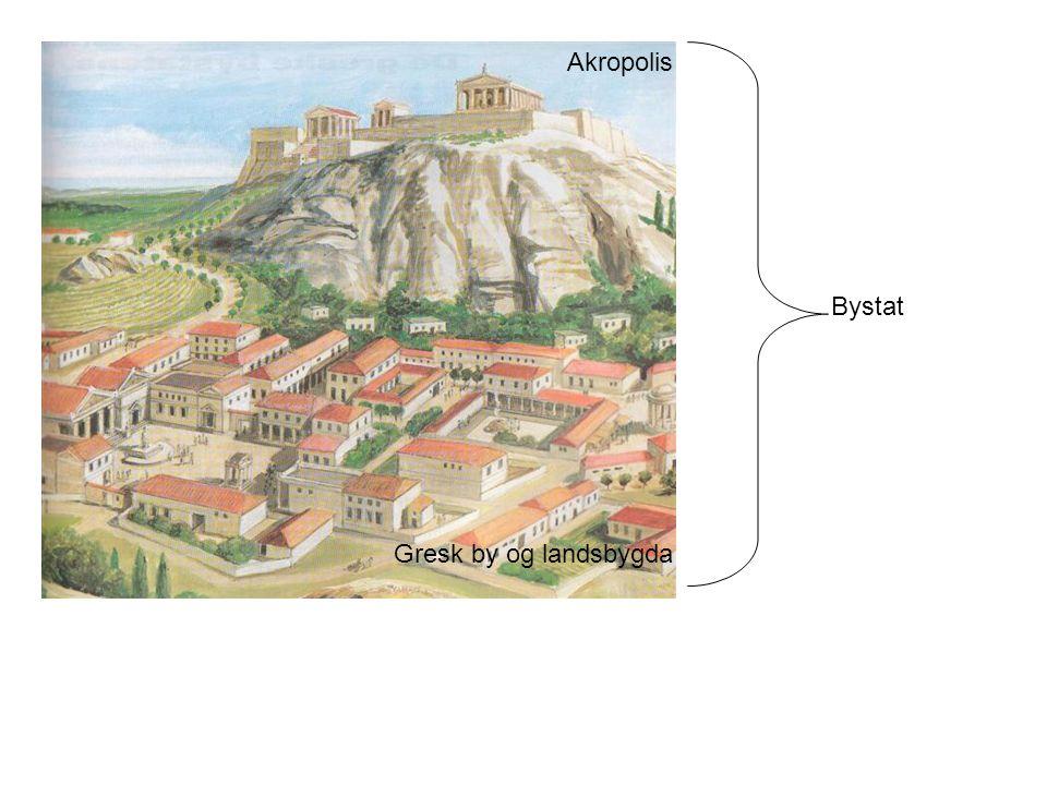 Akropolis Bystat Gresk by og landsbygda