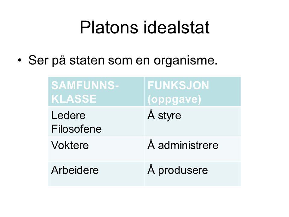 Platons idealstat Ser på staten som en organisme. SAMFUNNS-KLASSE