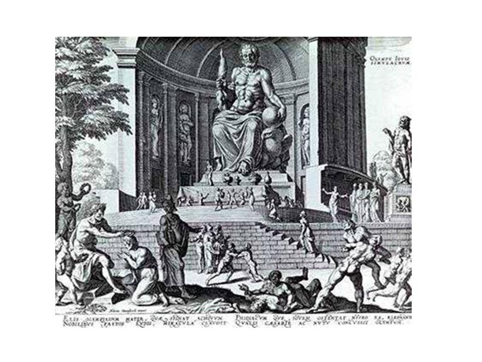 Statue av Zevs i Olympia. Laget av Phidias. Ca 12 meter høy