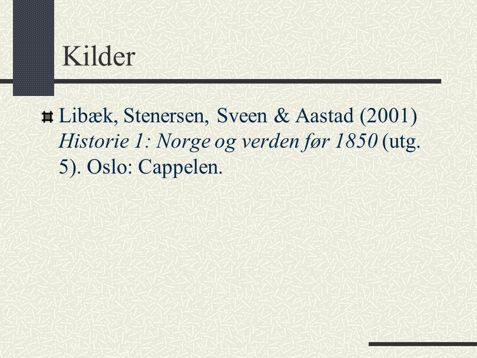 Kilder Libæk, Stenersen, Sveen & Aastad (2001) Historie 1: Norge og verden før 1850 (utg.