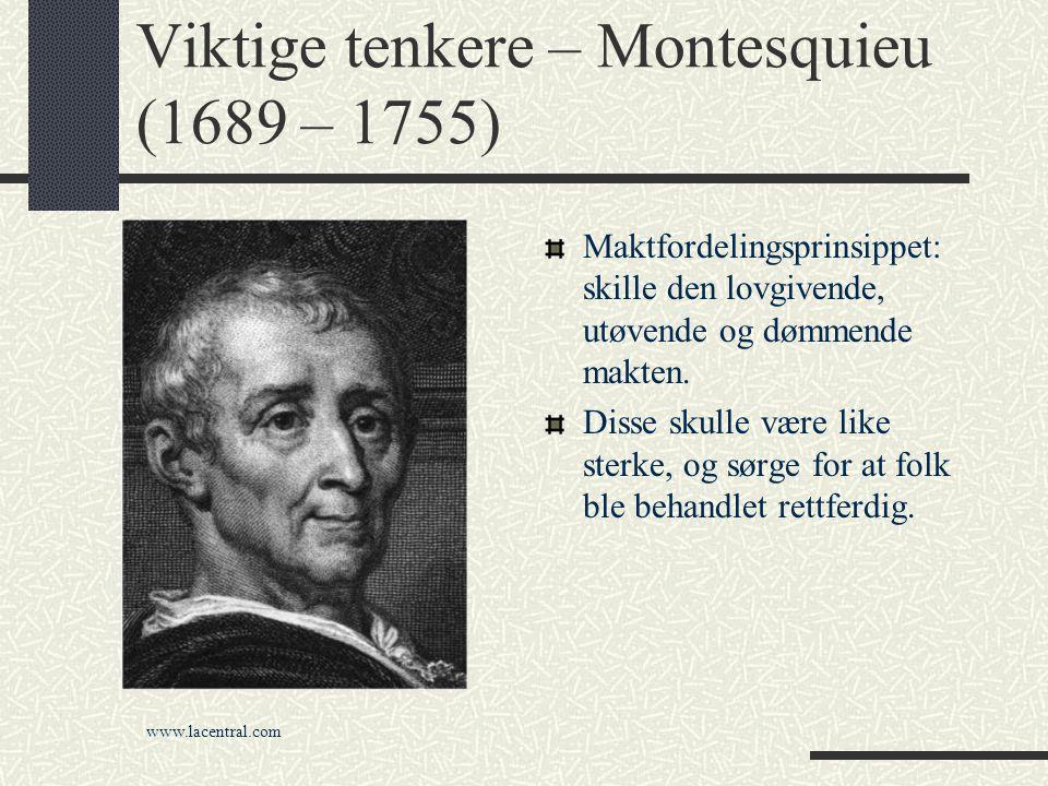 Viktige tenkere – Montesquieu (1689 – 1755)
