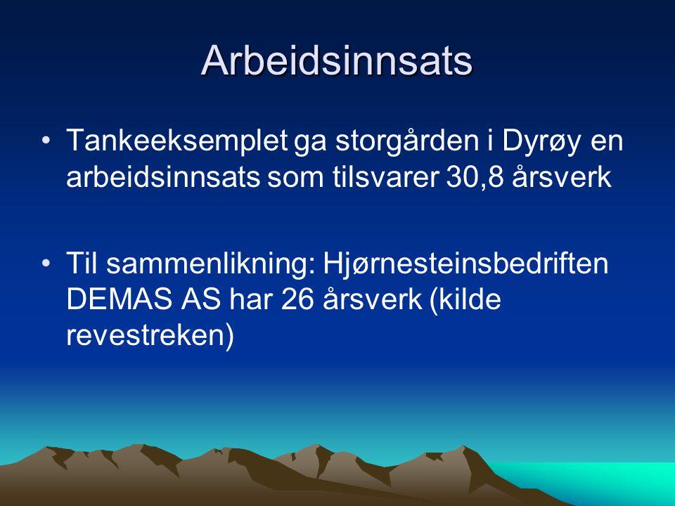 Arbeidsinnsats Tankeeksemplet ga storgården i Dyrøy en arbeidsinnsats som tilsvarer 30,8 årsverk.