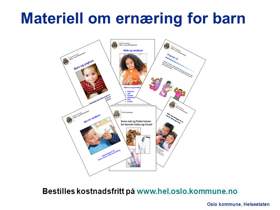 Materiell om ernæring for barn