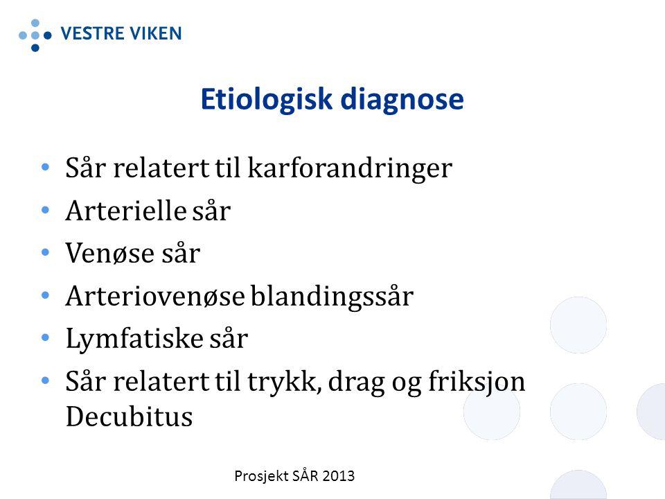 Etiologisk diagnose Sår relatert til karforandringer Arterielle sår