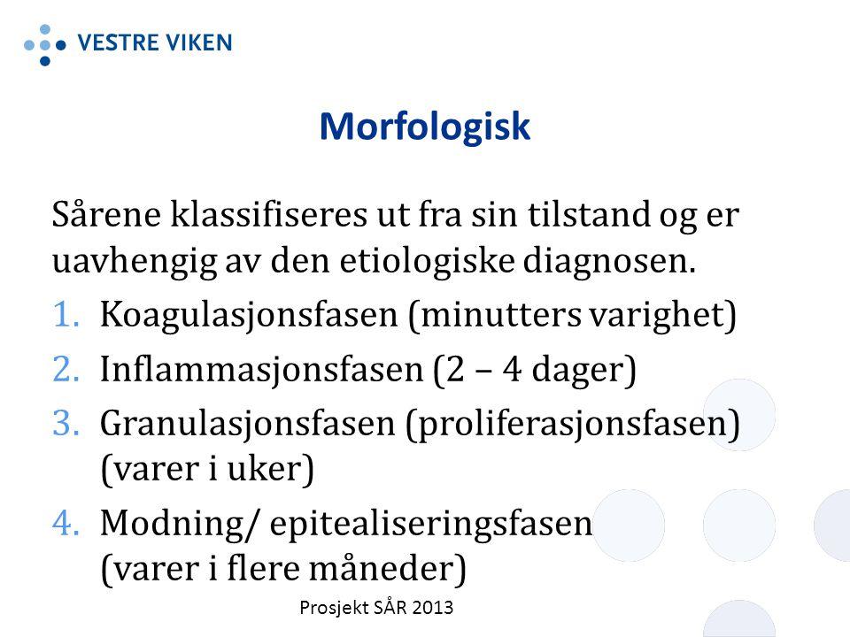 Morfologisk Sårene klassifiseres ut fra sin tilstand og er uavhengig av den etiologiske diagnosen. Koagulasjonsfasen (minutters varighet)