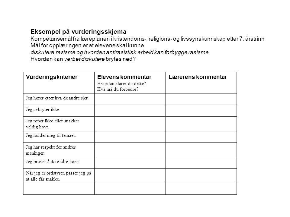 Eksempel på vurderingsskjema