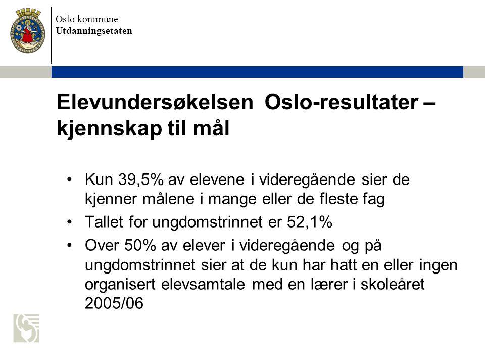 Elevundersøkelsen Oslo-resultater – kjennskap til mål