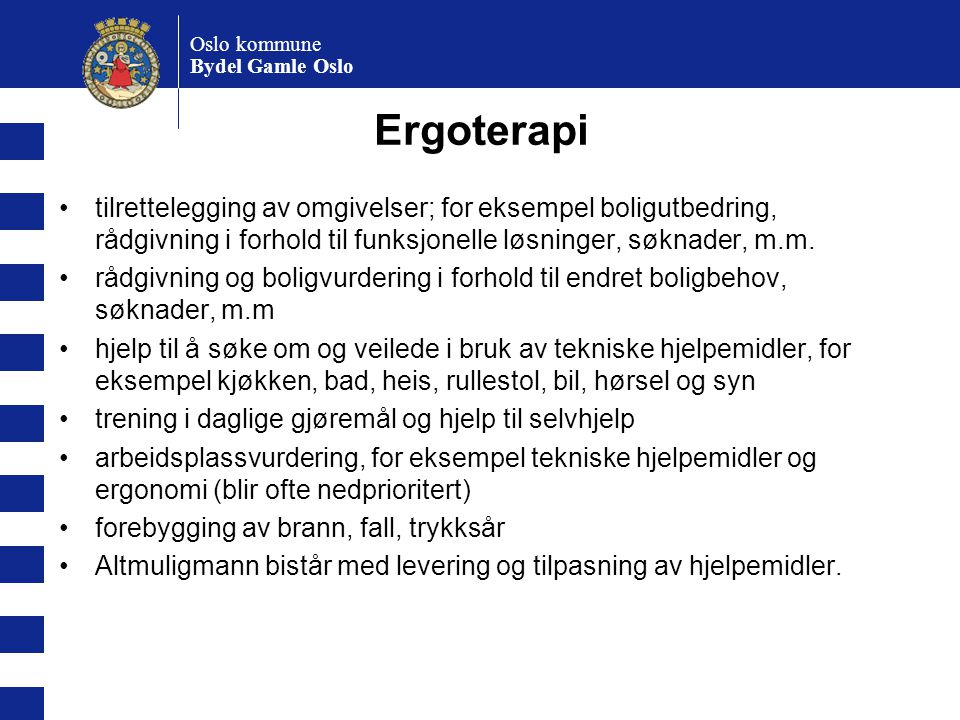 Oslo kommune Bydel Gamle Oslo. Ergoterapi.
