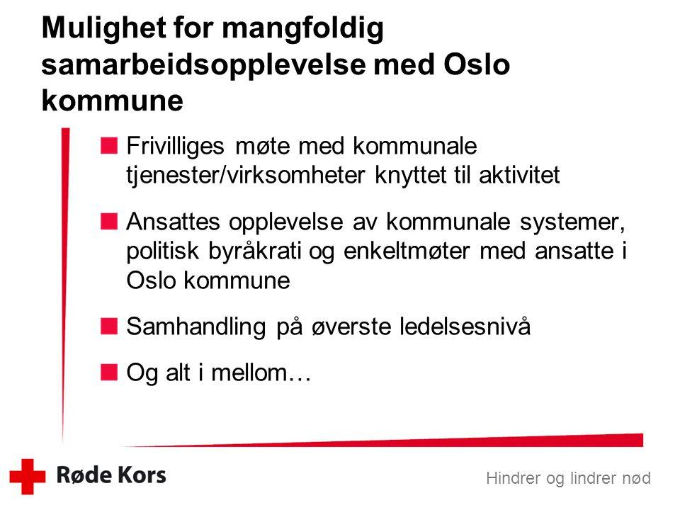 Mulighet for mangfoldig samarbeidsopplevelse med Oslo kommune