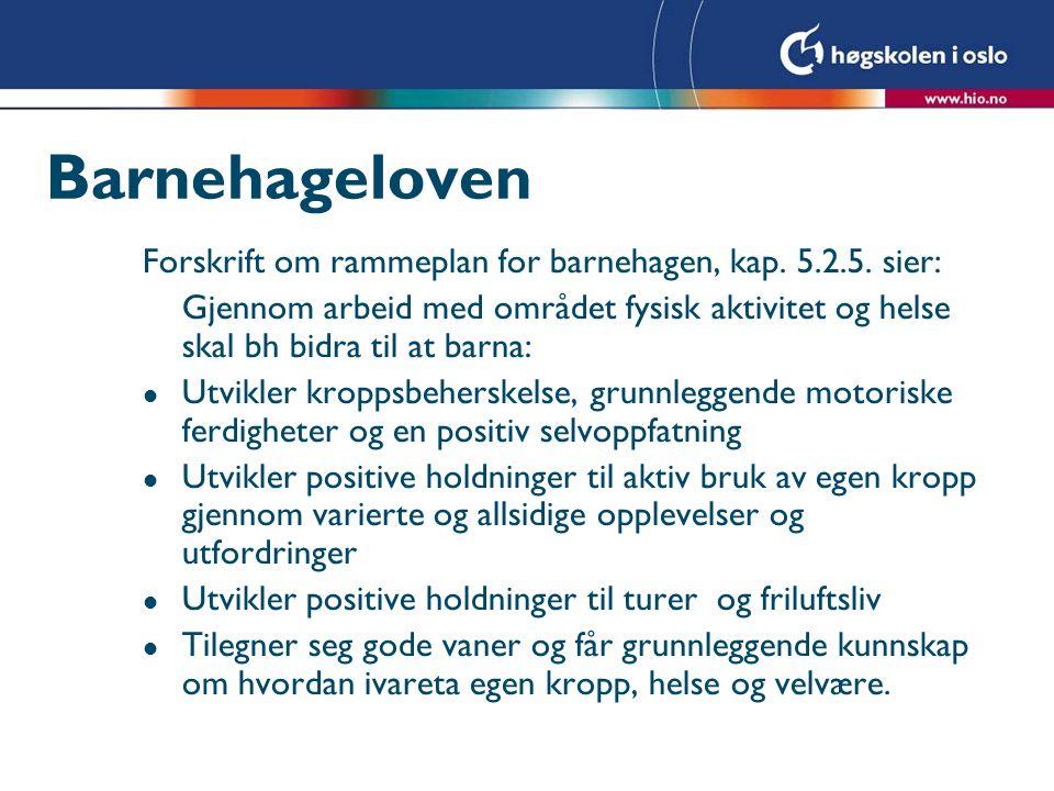 Barnehageloven Forskrift om rammeplan for barnehagen, kap. 5.2.5. sier: