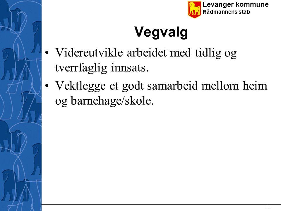 Vegvalg Videreutvikle arbeidet med tidlig og tverrfaglig innsats.