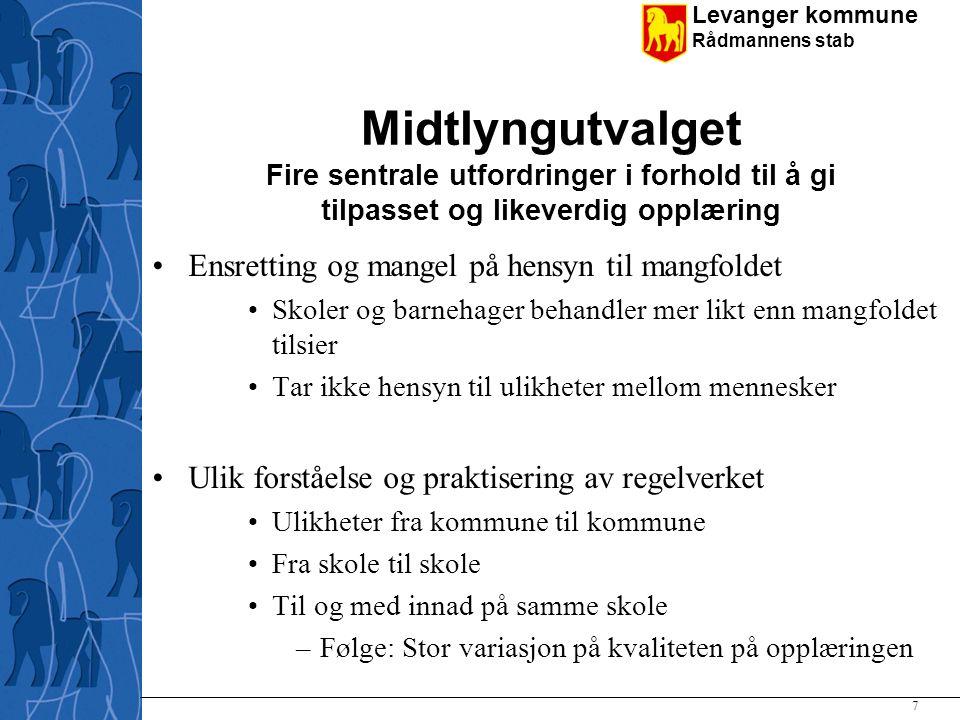 Midtlyngutvalget Fire sentrale utfordringer i forhold til å gi tilpasset og likeverdig opplæring