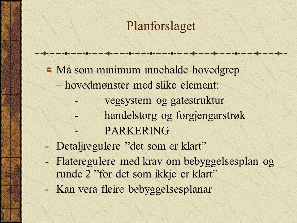 Planforslaget Må som minimum innehalde hovedgrep