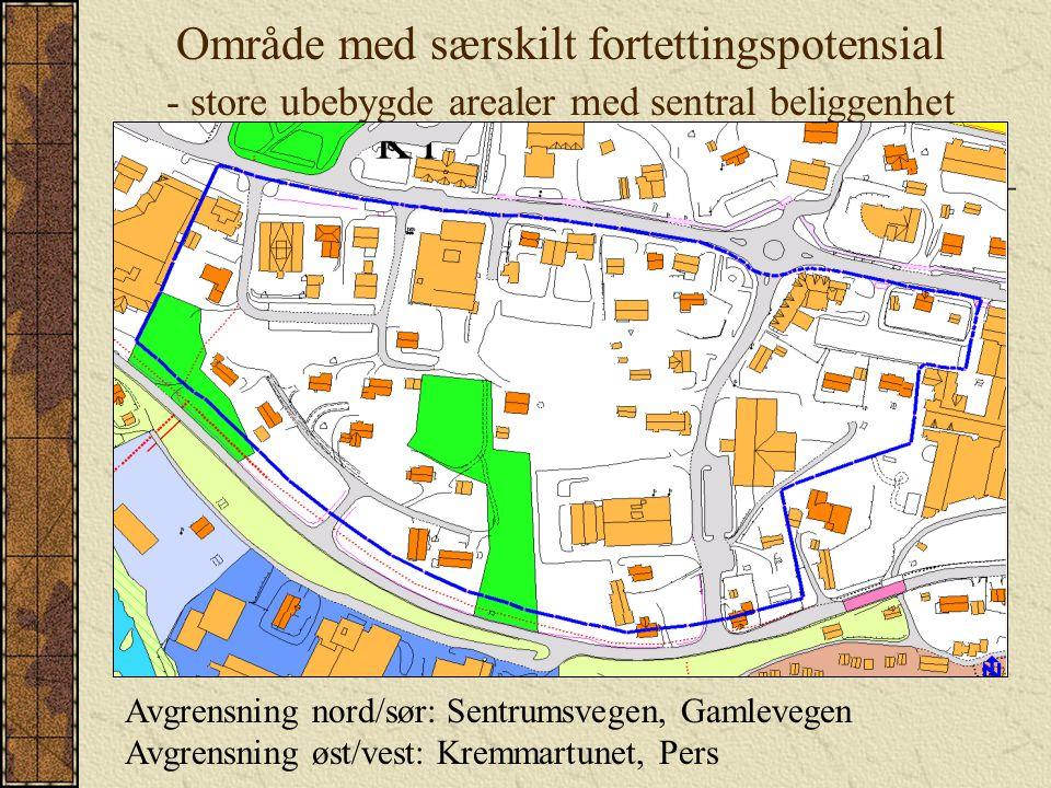 Område med særskilt fortettingspotensial - store ubebygde arealer med sentral beliggenhet