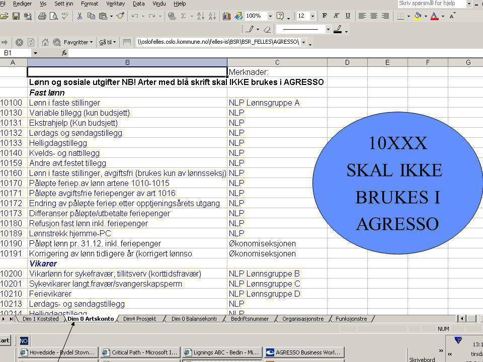 10XXX SKAL IKKE BRUKES I AGRESSO