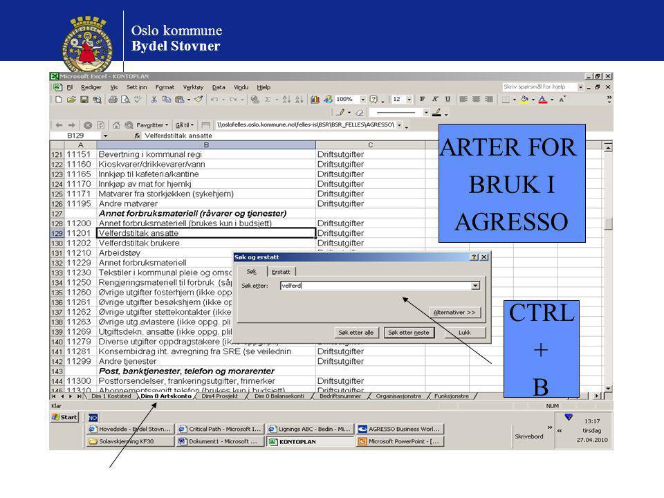 ARTER FOR BRUK I AGRESSO CTRL + B
