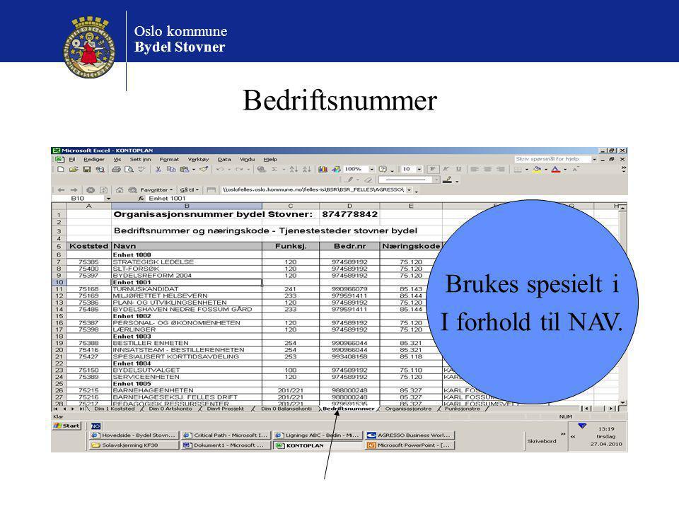 Bedriftsnummer Brukes spesielt i I forhold til NAV.