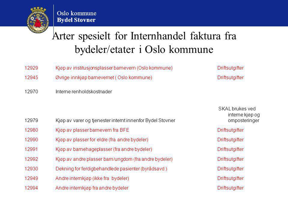 Arter spesielt for Internhandel faktura fra bydeler/etater i Oslo kommune