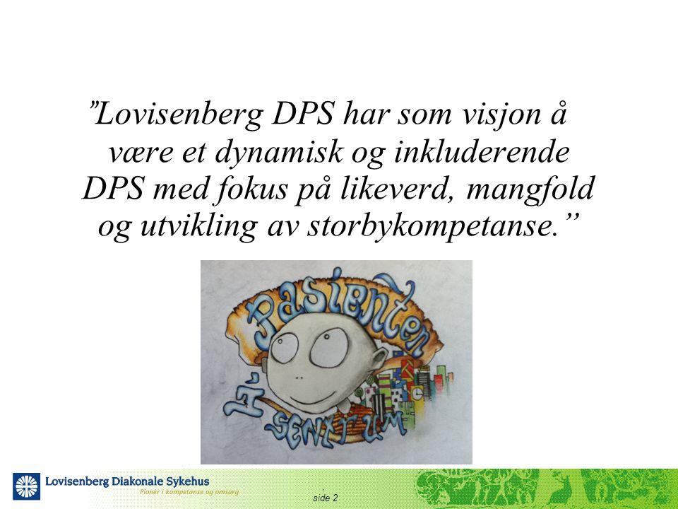 Lovisenberg DPS har som visjon å være et dynamisk og inkluderende DPS med fokus på likeverd, mangfold og utvikling av storbykompetanse.