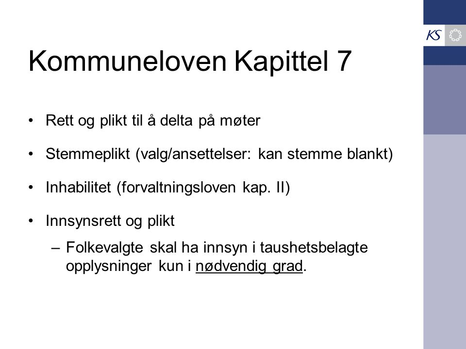 Kommuneloven Kapittel 7