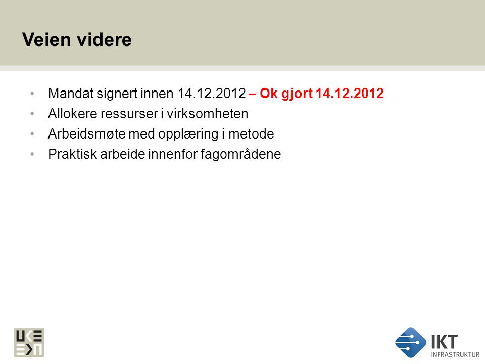 Veien videre Mandat signert innen 14.12.2012 – Ok gjort 14.12.2012