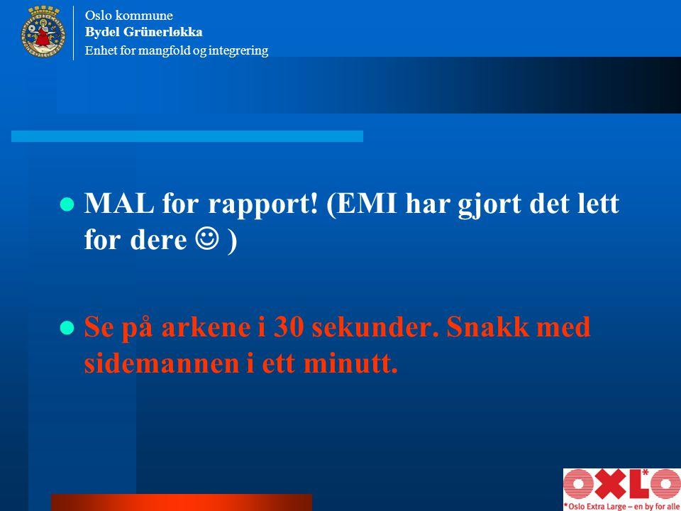 MAL for rapport! (EMI har gjort det lett for dere  )
