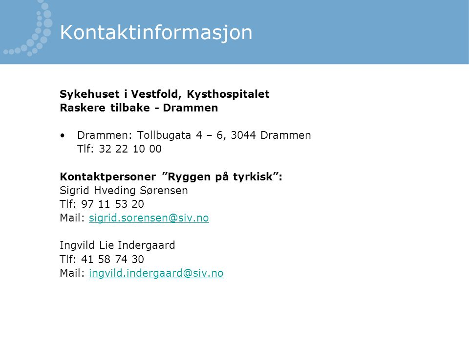 Kontaktinformasjon Sykehuset i Vestfold, Kysthospitalet