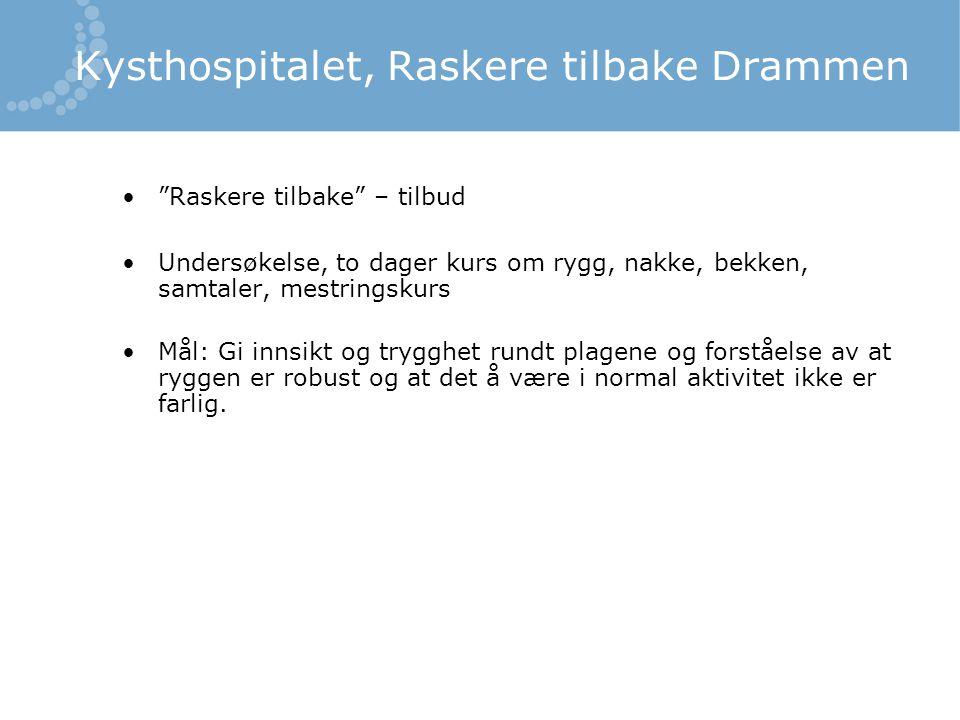 Kysthospitalet, Raskere tilbake Drammen