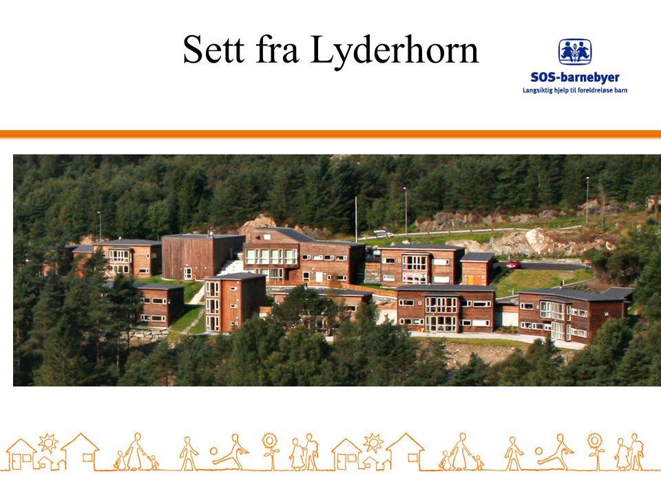 Sett fra Lyderhorn Presentasjon av barnebyens hus