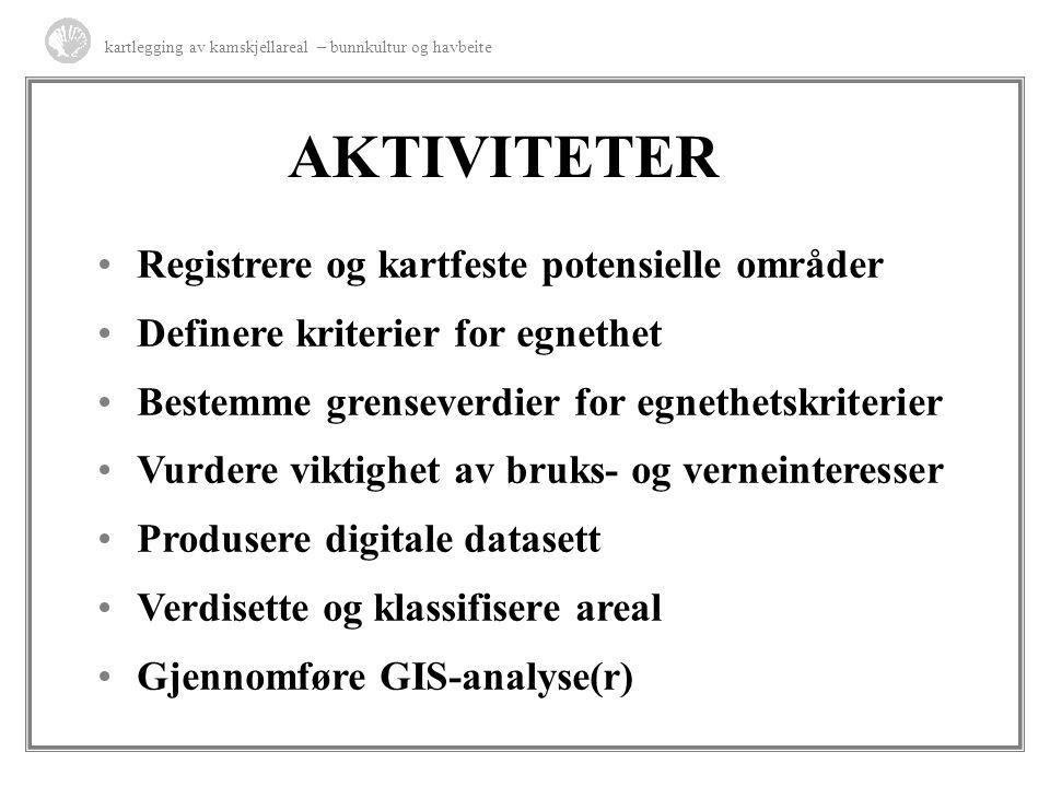 AKTIVITETER Registrere og kartfeste potensielle områder