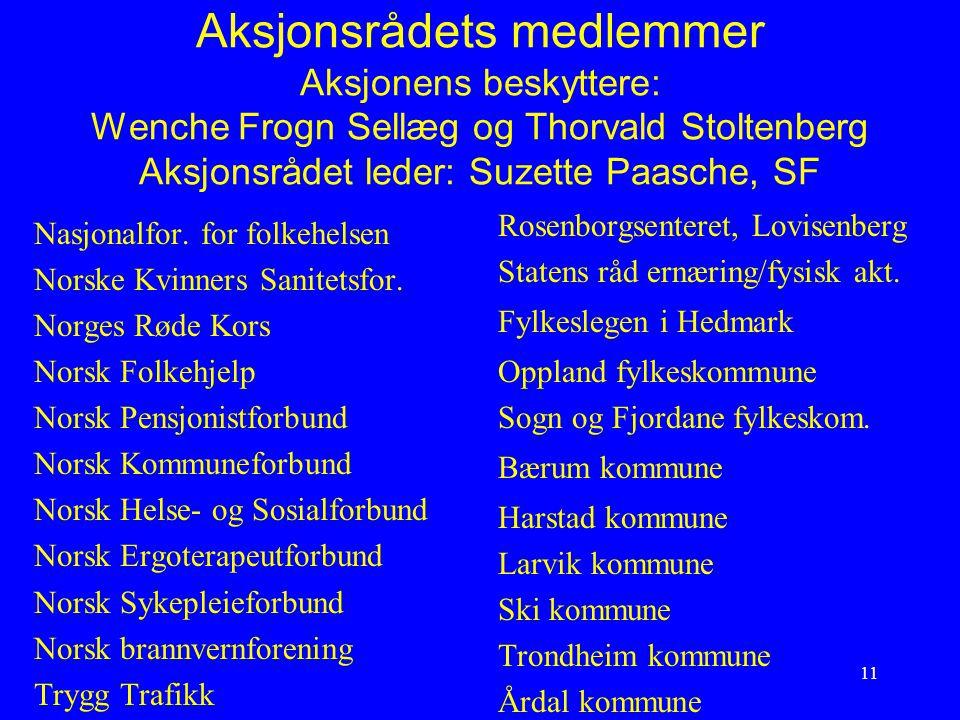 Aksjonsrådets medlemmer Aksjonens beskyttere: Wenche Frogn Sellæg og Thorvald Stoltenberg Aksjonsrådet leder: Suzette Paasche, SF