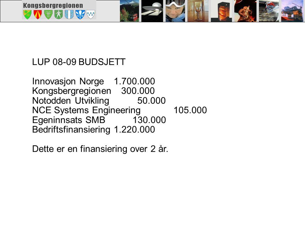 LUP 08-09 BUDSJETT Innovasjon Norge 1.700.000. Kongsbergregionen 300.000. Notodden Utvikling 50.000.