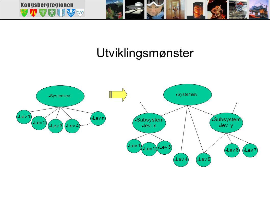 Utviklingsmønster Subsystem lev. x lev. y Lev 1 Lev 2 Lev 3 Lev 4