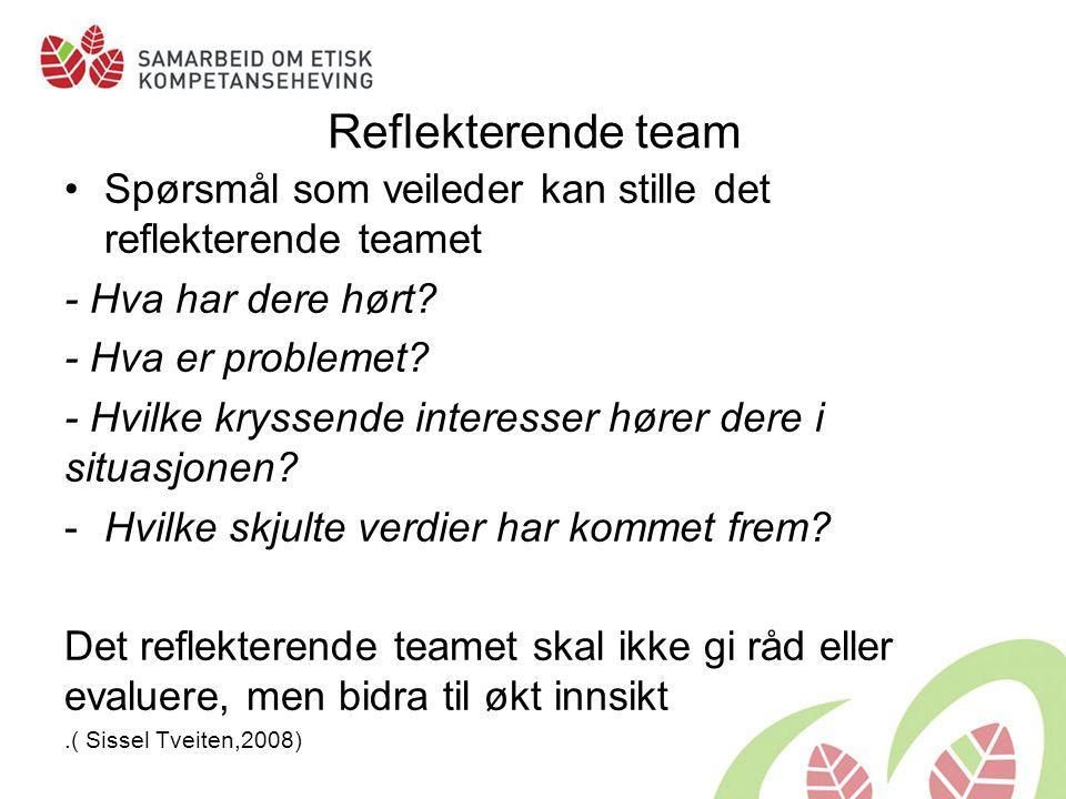 Reflekterende team Spørsmål som veileder kan stille det reflekterende teamet. - Hva har dere hørt