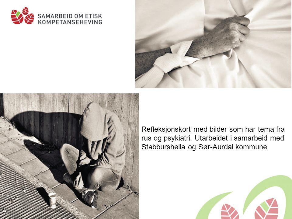 Refleksjonskort med bilder som har tema fra rus og psykiatri