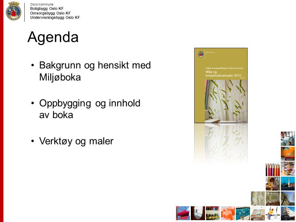 Agenda Bakgrunn og hensikt med Miljøboka Oppbygging og innhold av boka