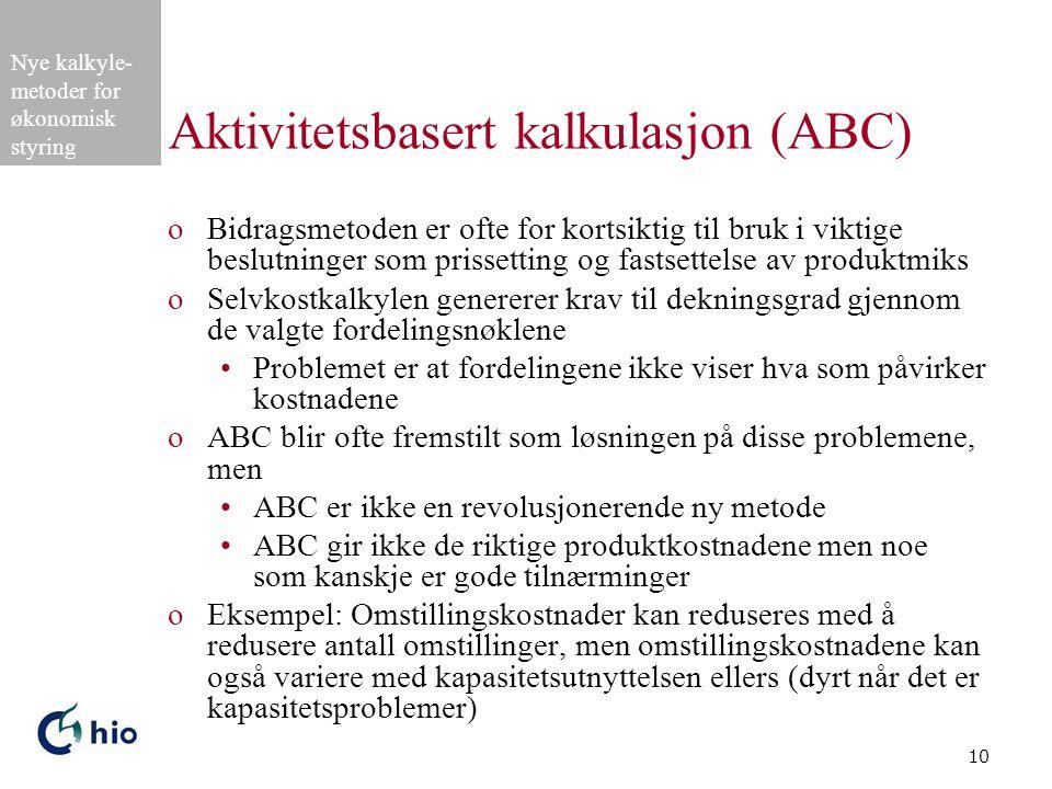 Aktivitetsbasert kalkulasjon (ABC)